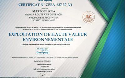 Notre exploitation passe vers la Haute valeur environnementale